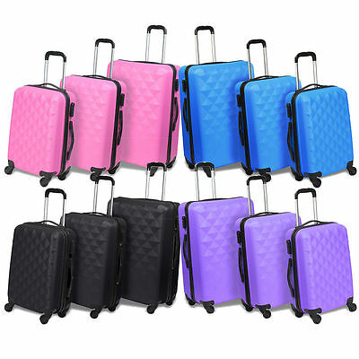 3 Piece Lightweight Suitcase Set ABS Hard Shell Cabin Travel Luggage