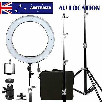 """AU Dimmable Diva LED Ring Light ES240 18"""" 5500K With Diffuser Light Stand Power"""