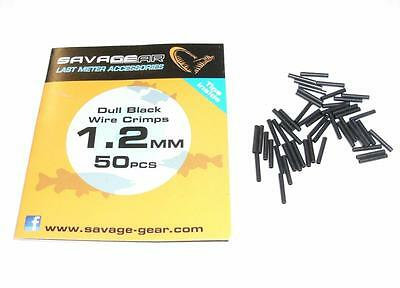 50 X SAVAGE GEAR DULL BLACK 1.2mm CRIMPS 4 PIKE DEAD BAIT TRACE WIRE
