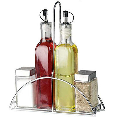 5Pc Glass Cruet Set Salt Pepper Oil Vinegar Stand Condiment Kitchen Serving New