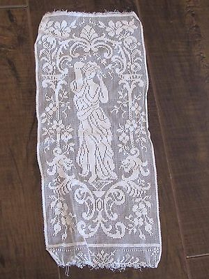 """Antique Figural Woman Goddess Lace 5"""" x 12"""" Small Dresser Ivory White Doily"""