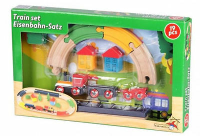 19pc Kids Traditional Wooden Train Set Childrens Railway Wooden Toy