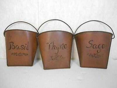 Herb Metal Tuscan Set 3 Wall Pockets Wall Décor Basil Thyme Sage
