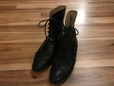Vintage Victorian Style Women's Black Boots Lace Up Made in Italy