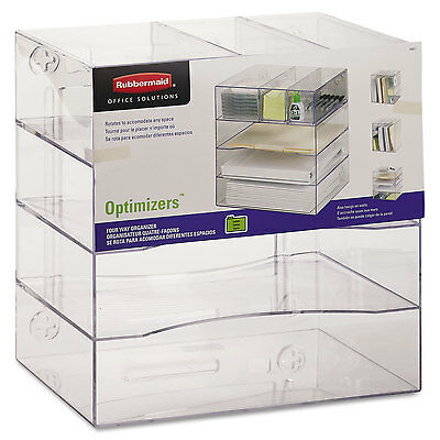 Rubbermaid Optimizers Four-Way Organizer with Drawers Plastic 10 x 13 1/4 x 13 1