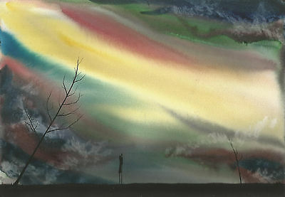 Original watercolour painting signed J Flavell. a4 Lovers changing sky