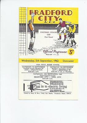 Bradford City v Doncaster Rovers League Cup Football Programme 1962/63