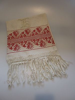 Fabulous Antique Linen Show Towel, Turkey Red and Linen White, Monogram