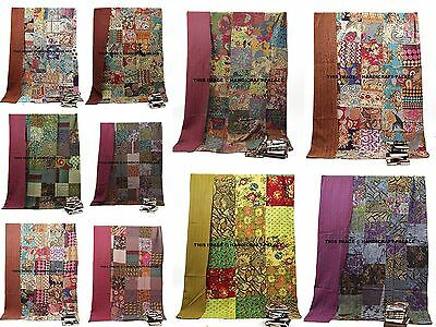 Indian Kantha Quilt Multi Patchwork Handmade Floral Quilt Bohemian Bedding Throw