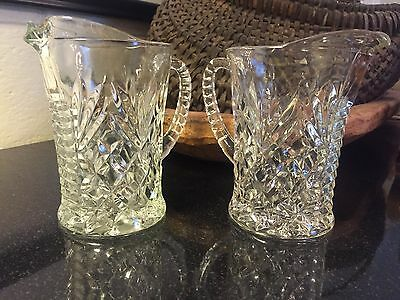 2 Vintage Clear Glass Pitchers, Prescut Pineapple, Anchor Hocking
