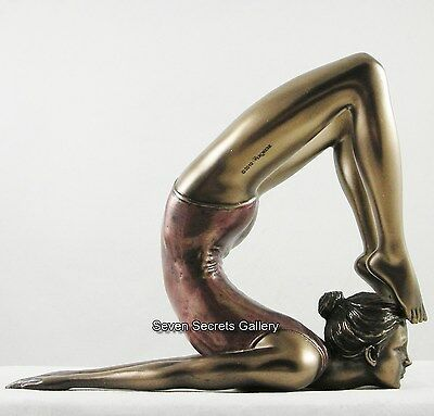 FEMALE 'Ganda Bherundasana' Position Bronzed Art FIGURINE YOGA STATUE - NEW IN