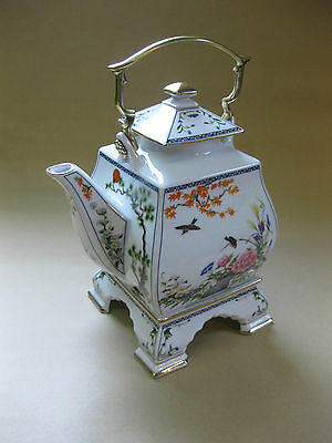 Franklin Porcelain Collector Teapot on Stand ~ Birds & Flowers of the Orient