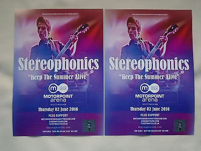 """STEREOPHONICS Live """"Keep the Summer Alive"""" 2016 UK Arena Tour Promo flyers x 2"""