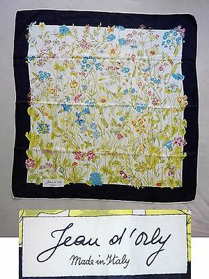 Foulard Carre En Soie Jean D'orly Made In Italy Carre Scarf 100% Silk