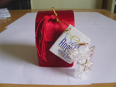 White Glass Worry Angel In Beautiful Dark Red Box With Poem