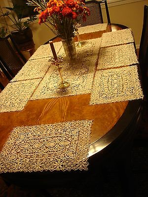 Antique Handmade Italian Reticella Needle Lace Set of 8 Placemats & Table Runner