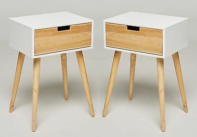 Set of 2 Bedside Table Nightstand 1 Drawer White Retro Chic Side Tables Console