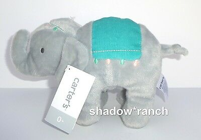NWT Carters Circus Elephant Plush Soft Gray Stuffed Lovey Toy Teal Pink 61679