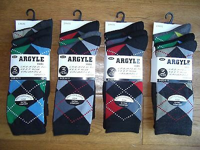 Special Offer.....12 Pairs Of Mens Argyle Golf Socks Golf Wear Cotton Rich Socks