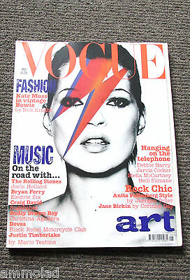 Rare Vintage UK VOGUE Magazine May 2003 Kate Moss as David Bowie Music Art Issue