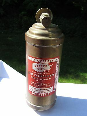 "Vintage Small Antique Brass Presto ""c B"" Fire Extinguisher ~ Motorcycle Rat Road"