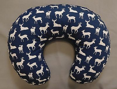 Nursing Pillow  Slipcover, Cover, boppy Slipcover, Deer Print, NAVY MINKY