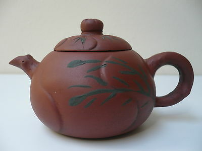 Antique Chinese Hand Made Hand Painted Terracotta Pottery Small Teapot