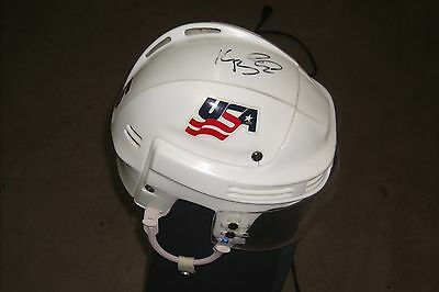 TEAM USA Keith Ballard game-worn and autographed Bauer helmet with good use