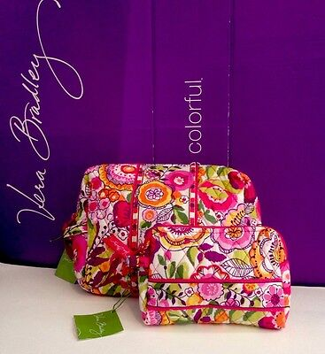 NWT Vera Bradley Travel LARGE & SMALL Cosmetic Bags SET In Clementine