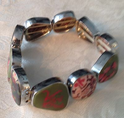 Viva Beads Hand Painted Stretch Clay Chunky Bracelet Olive Green & Pink Ladies