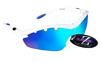 RayZor 612 Uv400 1 Pce White Vented Blue Mirrored Cricket Wrap Sunglasses RRP£49