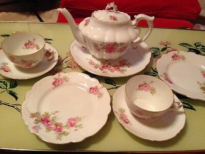 Pretty Vintage Pink Roses Tea Set - Teapot, Large Plate, Cup, Saucer, Side Plate