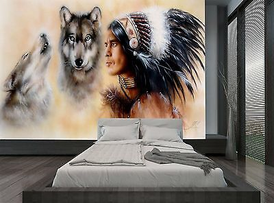 Native American Two Wolves Vintage Wall Mural Photo Wallpaper GIANT WALL DECOR