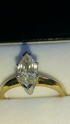 1.0ct diamond solitaire marquise cut 18ct gold engagement ring stunning item