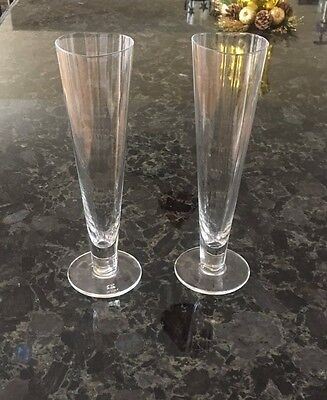 Pair of Wedding Champagne Toasting Flutes Heart Flute Bridal by Crate & Barrel