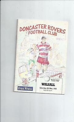 Doncaster Rovers v Walsall Football Programme 1992/93