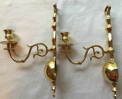 Vintage Pair Metal Gold Brass Candle Wall Sconce ~