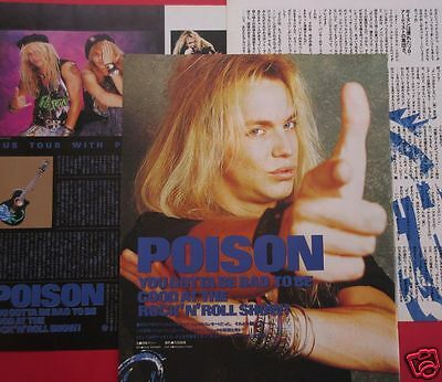 Poison Bret Michaels 1989 Clipping Japan Magazine Pg 8A 5Page