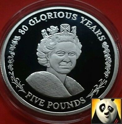 2006 Gibraltar Hm Queen 80 Glorious Years £5 Five Pound Silver Proof Coin