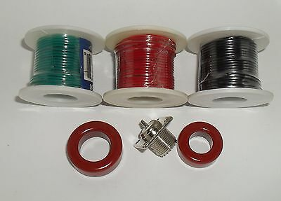 Toroid T106-2, T130-2, SO239, 22awg Red Green Black Solid Wire