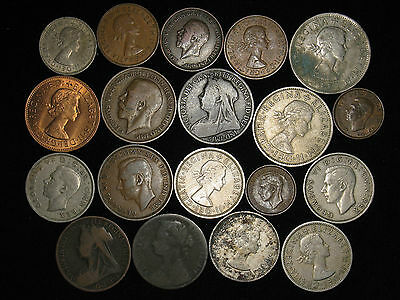 lot of 19 Great Britain 1875-1963 penny 2 shilling half crown farthing