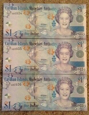 3 X Cayman Island Banknotes. One Dollar. Unc. Queens Image. Consecutive Serials.
