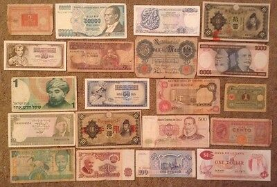 lot of 20 x world banknotes. all different set