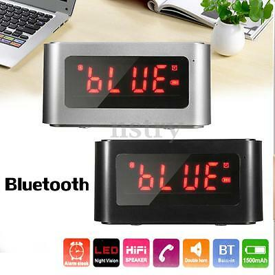 LCD Bluetooth Speaker Alarm Clock FM Radio Player AUX USB for iphone 7 6 Samsung