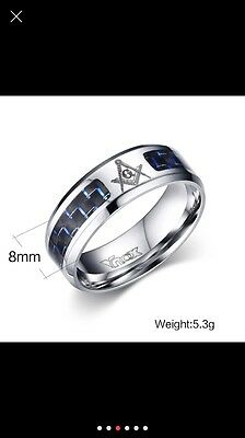 Masonic Ring Compass & Square With G ( Buy From A Mason ) Size S (9)
