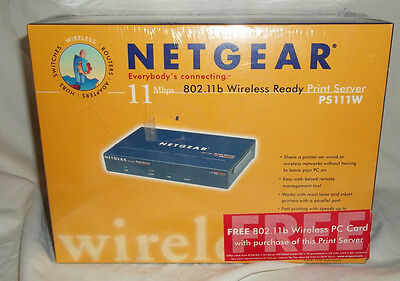 NETGEAR PS111W Parallel Ethernet Print Server Wireless Ready - NEW IN PACKAGE!