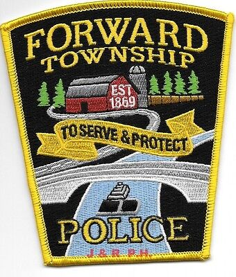 """*NEW*  Forward Township, PA  1869 (4"""" x 4.5"""" size)  shoulder police patch (fire)"""