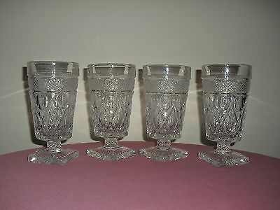 4 IMPERIAL Cape Cod Clear Glass Iced Tea / Water Goblets