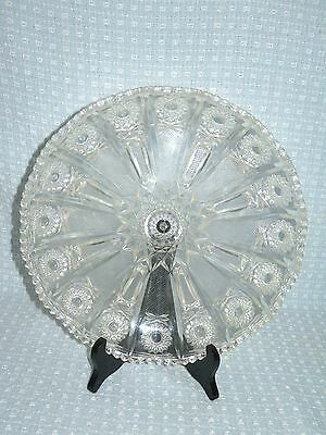 "Fancy Cut Crystal Plastic Serving Tray Plate Platter Dish 11.25"" Round Vintage"