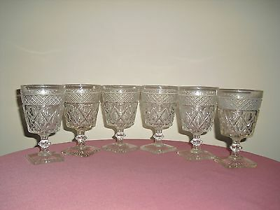 Set of 6 IMPERIAL Cape Cod Clear Glass Water / Wine Goblets